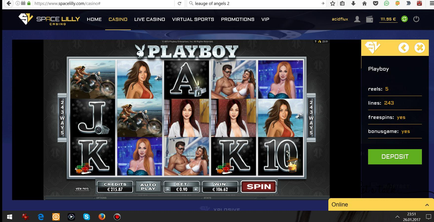 26.01.2017 - 23:51 (GMT +1) - Playboy Online Slot