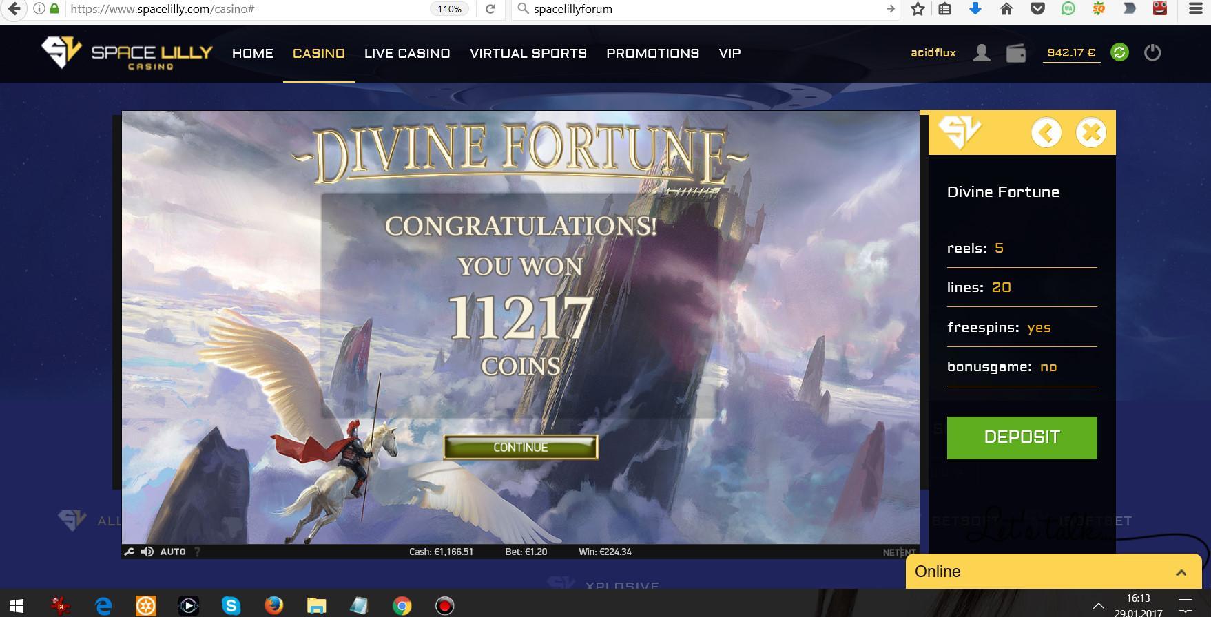 29.01.2017 - 16.13 (GMT+1) Divine Fortune