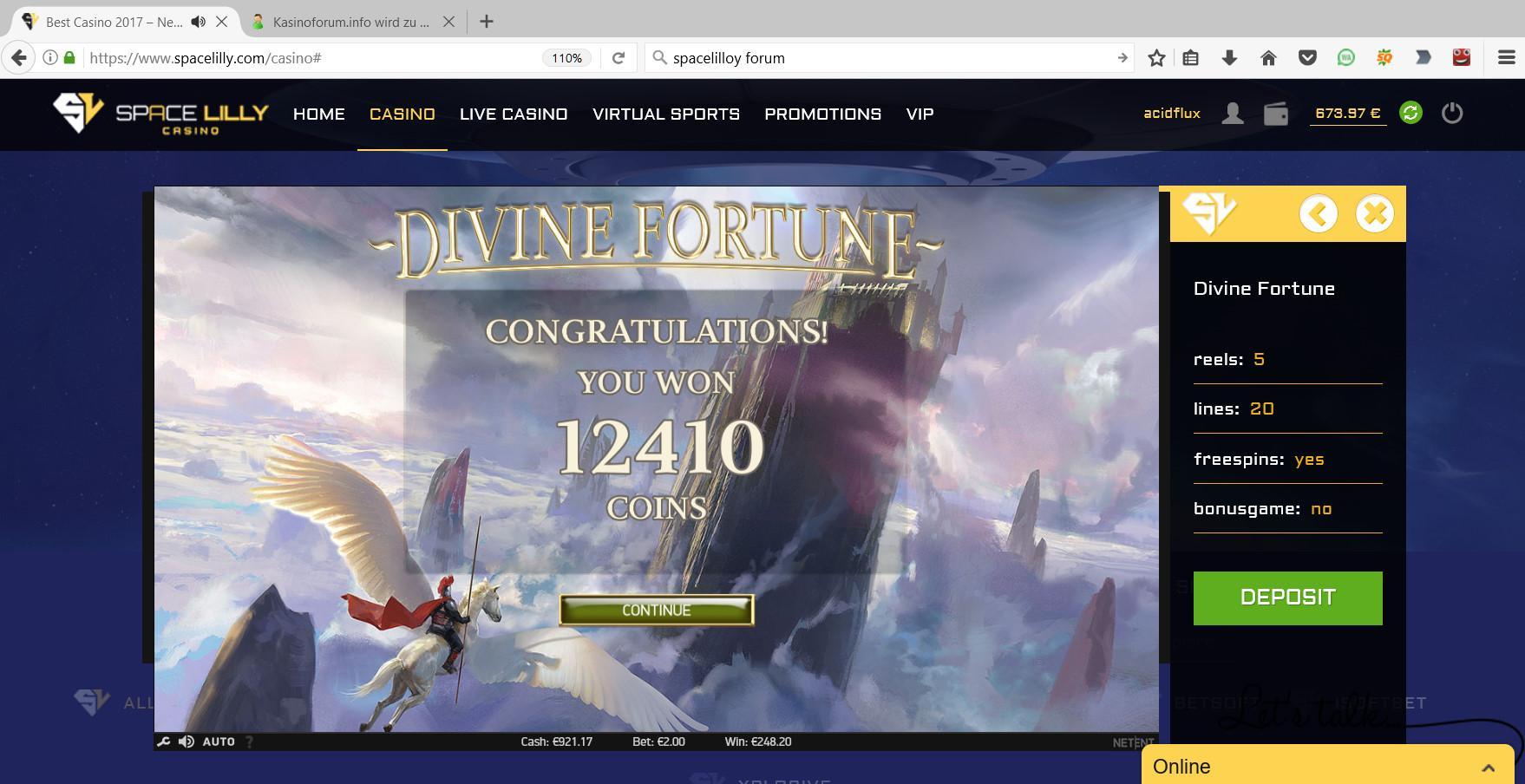 30:01.2017 - 01:57 (GMt+1) Divine Fortune