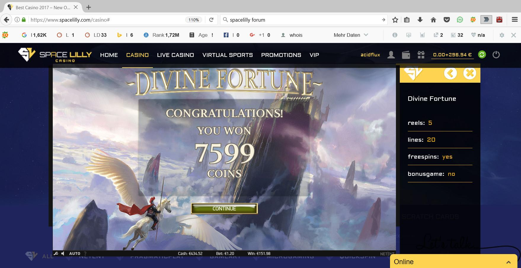 31.01.2017 - 22.45 (GMT+1) Divine Fortune
